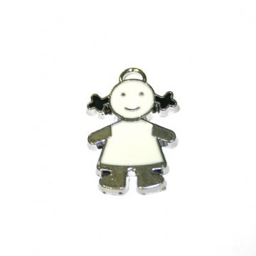 1pce x 21*15mm little girl in white T-shirt enamel charms - S.D03 - CHE1238